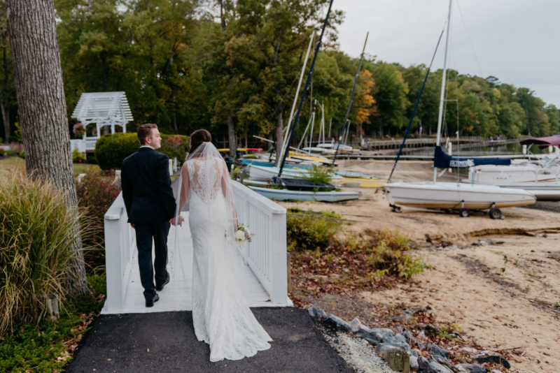 the boathouse at Sunday park fall wedding